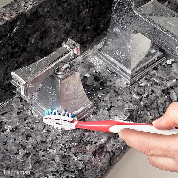 car wax buff clean bathroom faucets with toothbrush