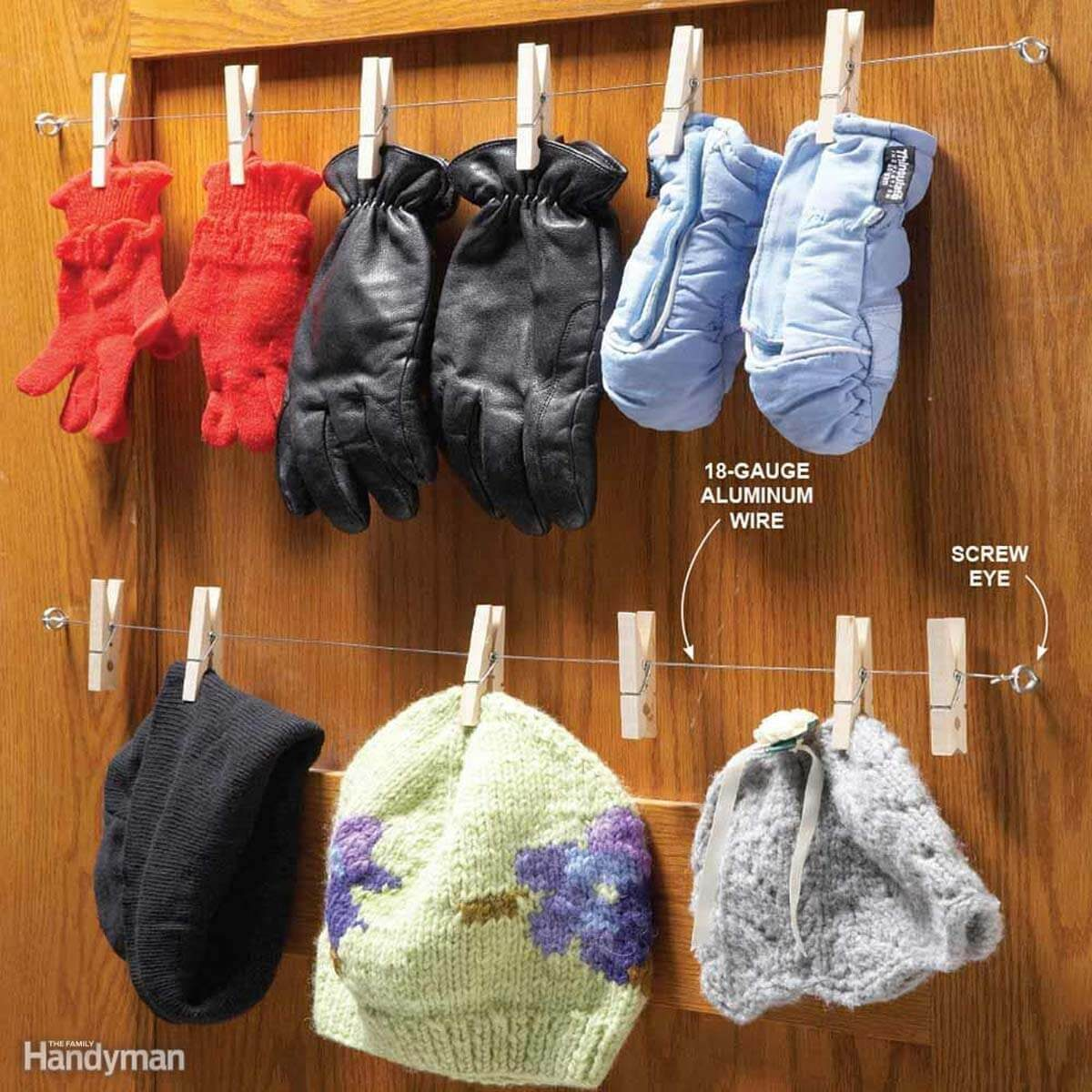 clothes pin hat and mitten drying rack