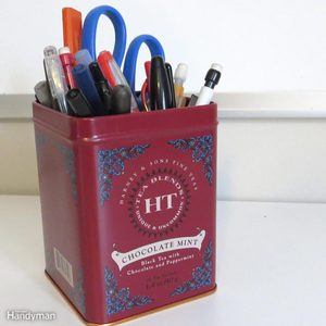 Reuse and Recycle Food Tins pen organizer