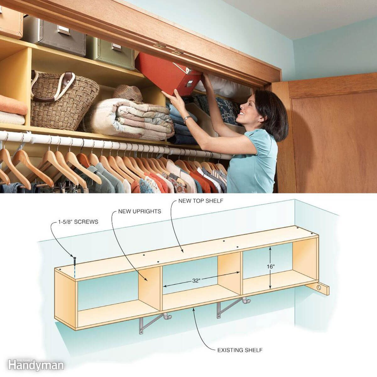 Two-Story Closet Shelves