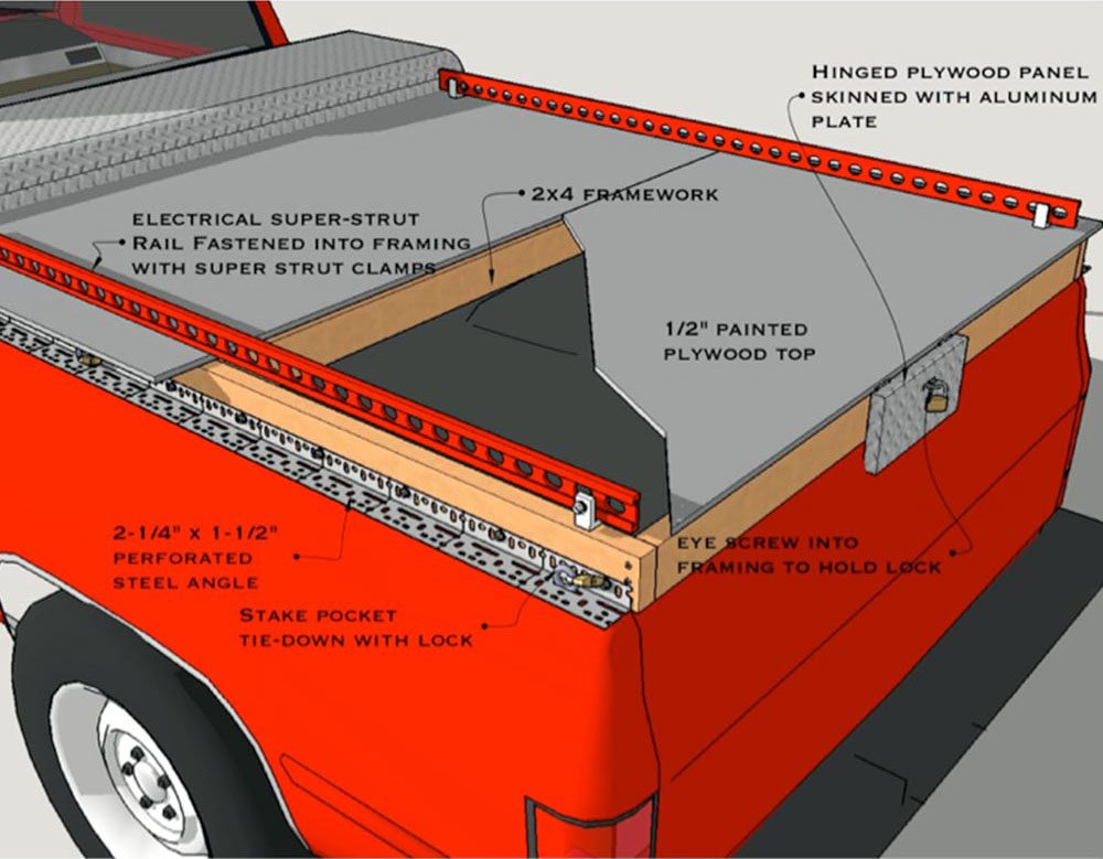 a diagram showing how to build a truck storage system