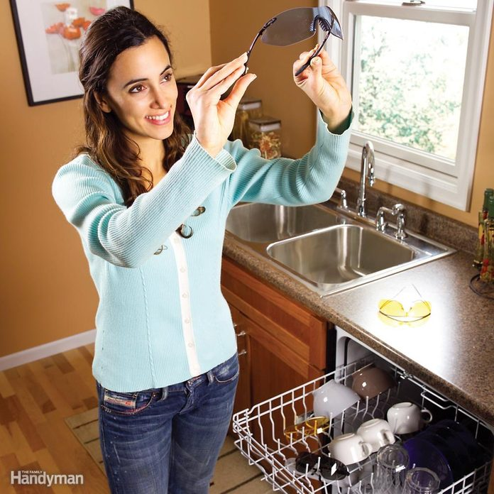 safety glasses in dishwasher