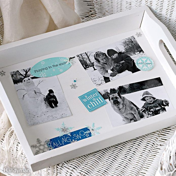 photo collage serving tray