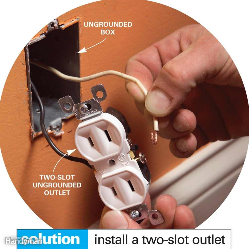 Wiring A Switch And Outlet The Safe Easy Way Family Handyman Two One Bulb Dont Install Three Slot Receptacle Without Ground