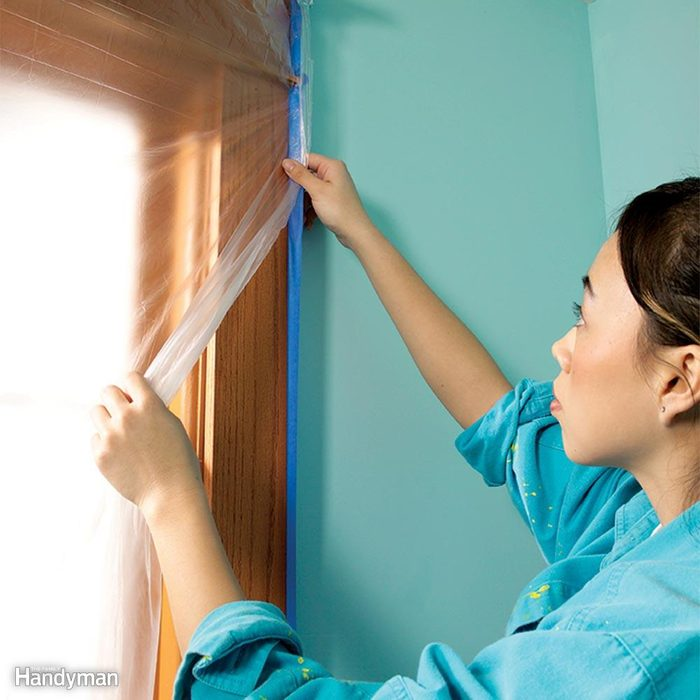Use Wide Tape and Plastic to Protect Doors and Windows