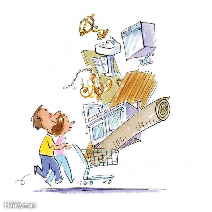 Illustration of a couple with a cart full of home renovation products