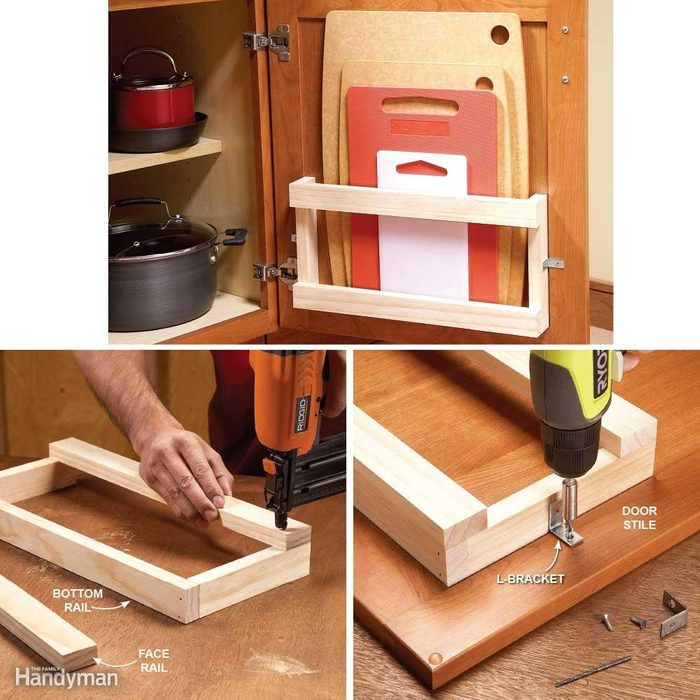 Behind the Door Storage: Cutting Board Rack