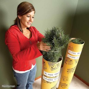 store an artificial christmas tree in concrete forms