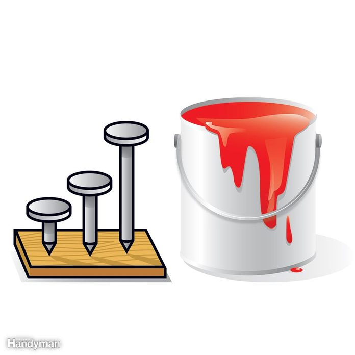Illustration of nails and paint can