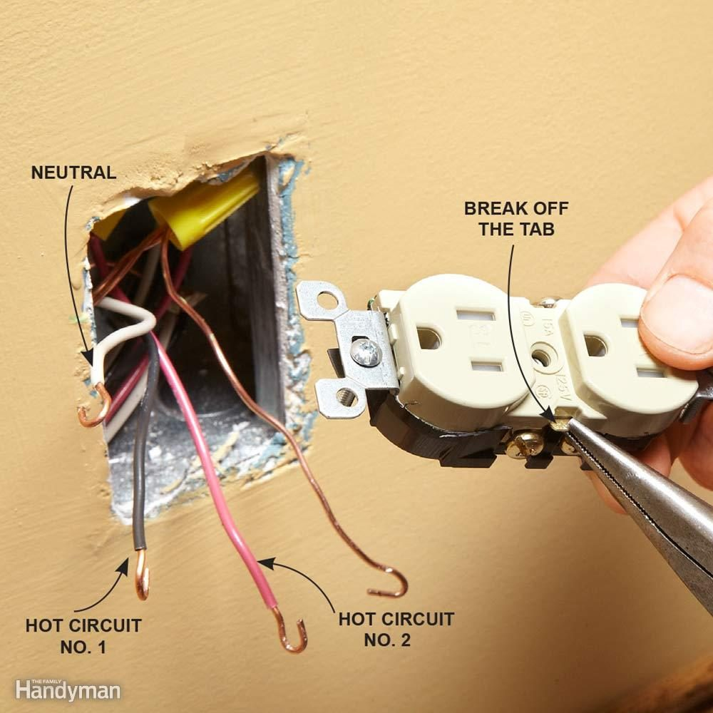 Wiring A Switch And Outlet The Safe Easy Way Family Handyman Duplex Decora Diagram Match Breakaway Tab To Original