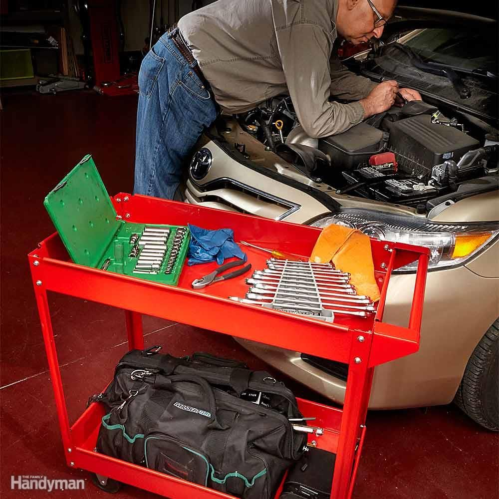 Cool auto shop tools you need family handyman keep your tools within reach with a rolling cart solutioingenieria Images