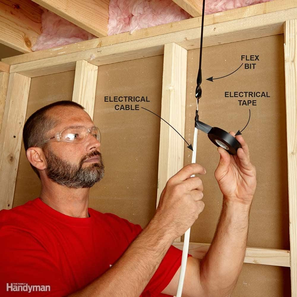 Fishing Electrical Wire Through Walls The Family Handyman 11 Pulling Flexible Conduit Hook On To A Flex Bit