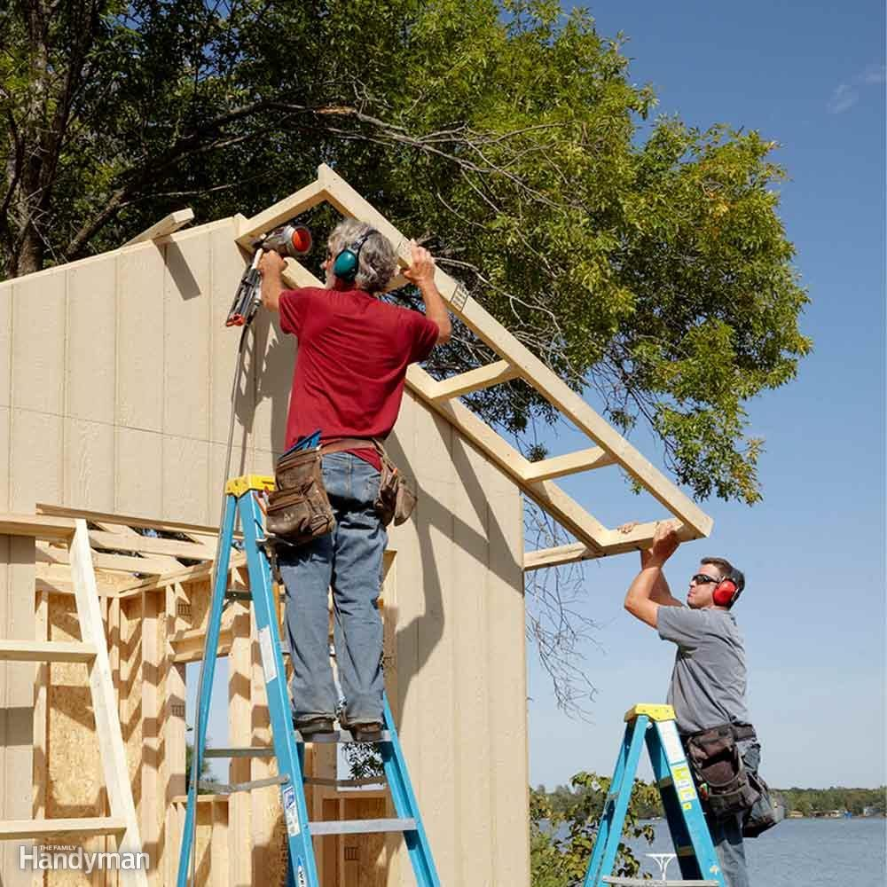 Diy Shed Building Tips The Family Handyman How To Add Electric Power Easily An Outdoor Wire A Overhangs Protect Siding