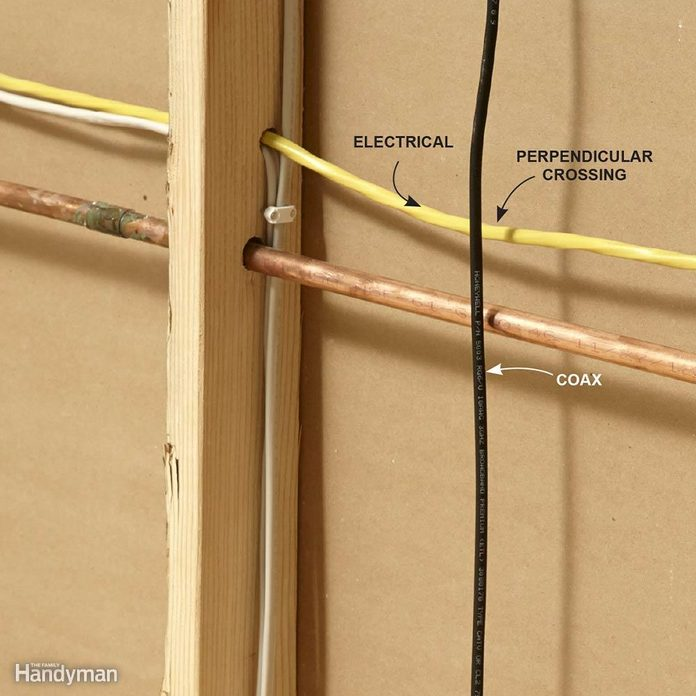 Run Coaxial Cables Perpendicular to Electrical Cables