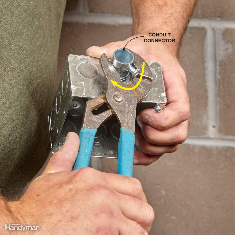 Mastering The Art Of Electrical Conduit Family Handyman Home Wiring In Tighten Box Connectors Easily