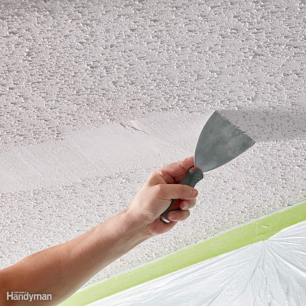 how to remove painted popcorn ceiling texture