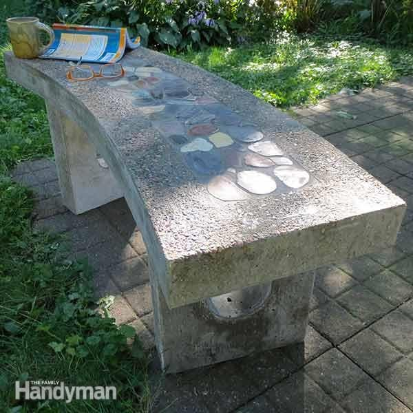 Stone Inlay Concrete Bench The Family Handyman