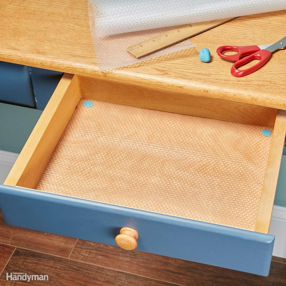 How To Line Drawers And Cabinets With Shelf Liners The Family Handyman