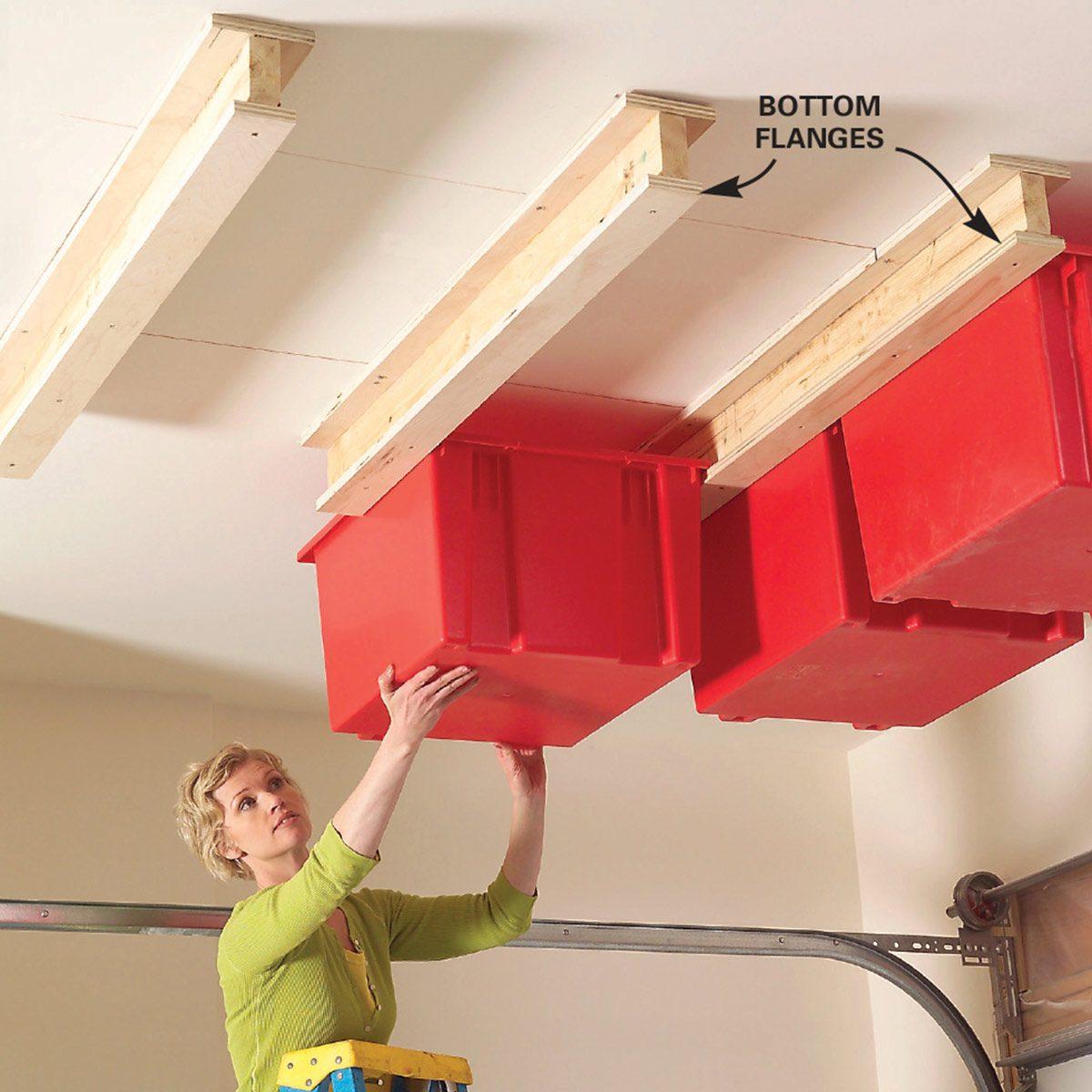 Create A Sliding Storage System On The Garage Ceiling Diy