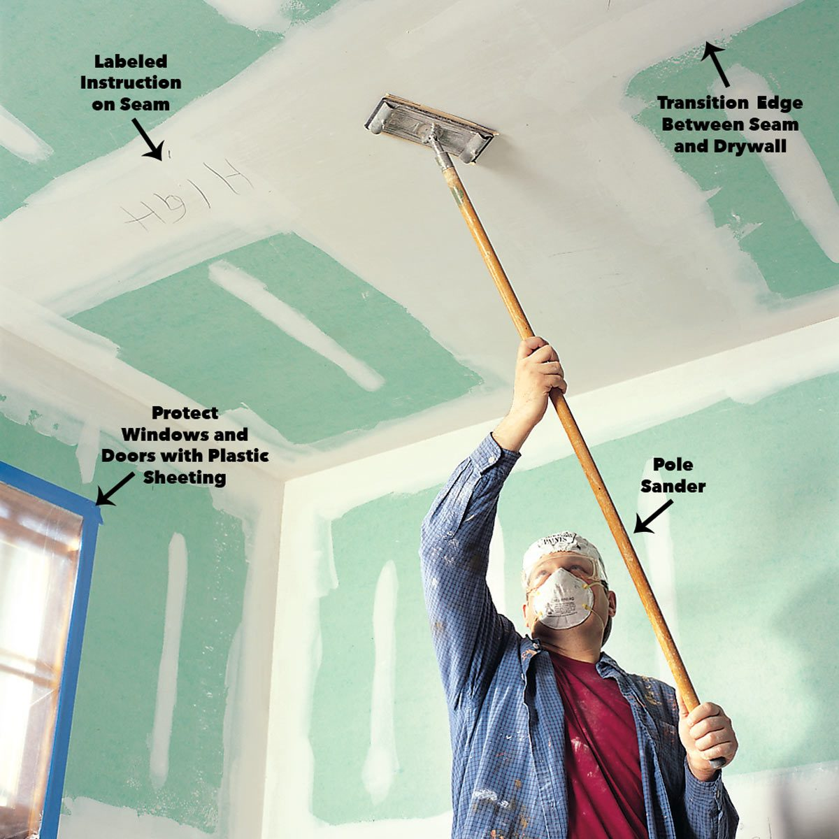 using a pole sander to sand drywall