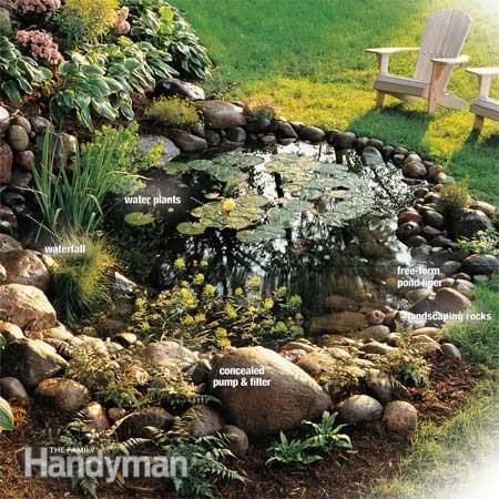 How to build a water garden with waterfall the family for Garden pond design books