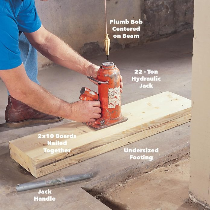 place hydraulic jack replace load bearing beam