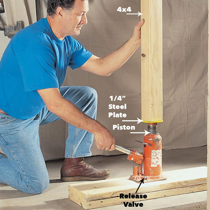 set the jacking post move load bearing beam ceiling jack