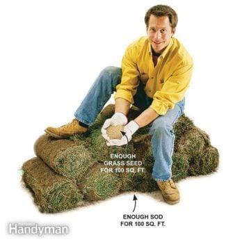 man sitting on top of rolls of sod