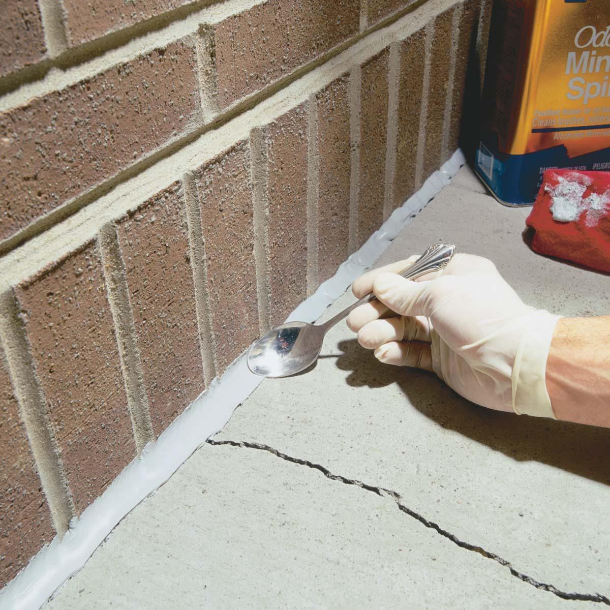 Caulking concrete cracks family handyman - Silicone paint for exterior walls ...