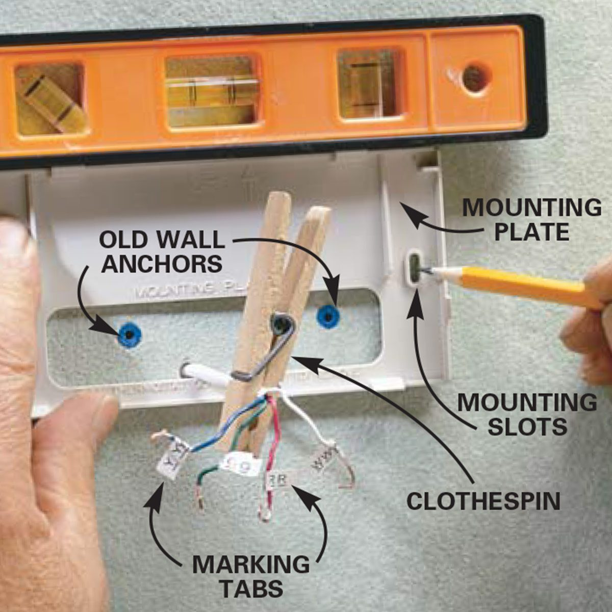 How To Install A Thermostat The Family Handyman American Standard Wiring Mounting Plate Mount New