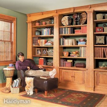 living room bookshelves how to build a built in bookshelves the family handyman 10256