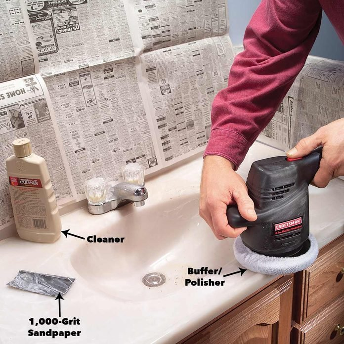 buffing a scratched countertop