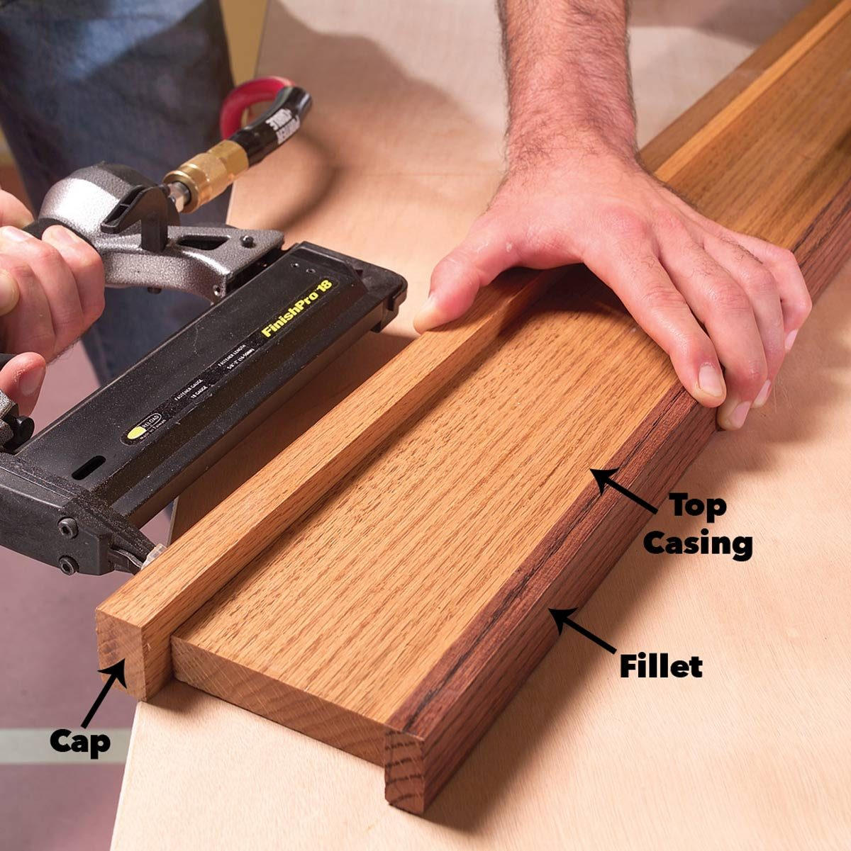 Attach trim cap and fillet pieces