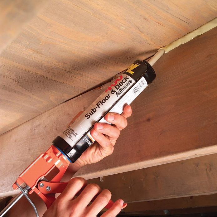 Fill gaps with construction adhesive