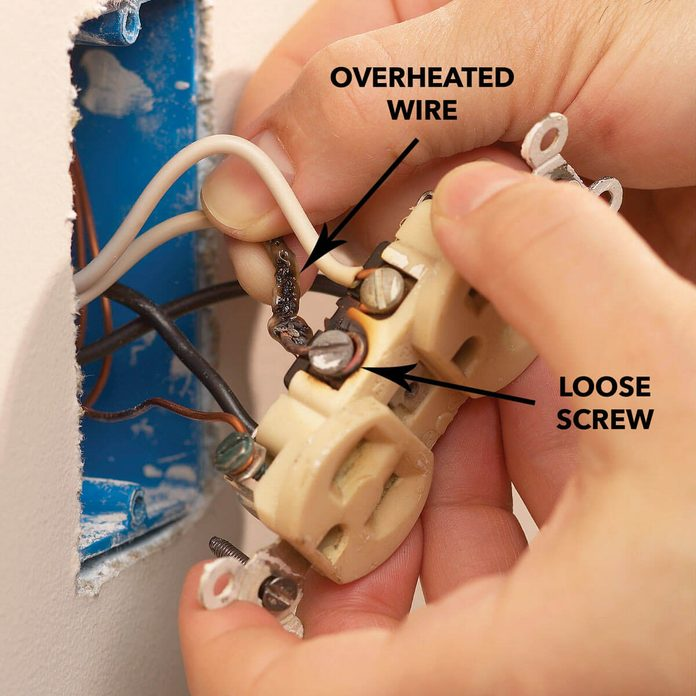 bad outlet overheated wire diagram