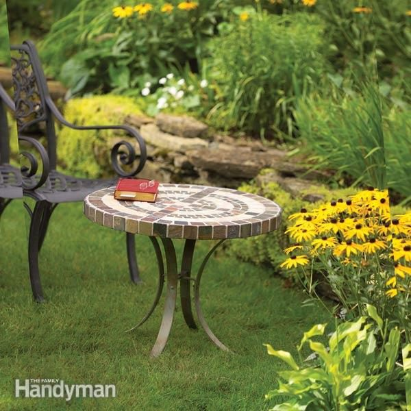 Build An Outdoor Table With Tile Top And Steel Base The