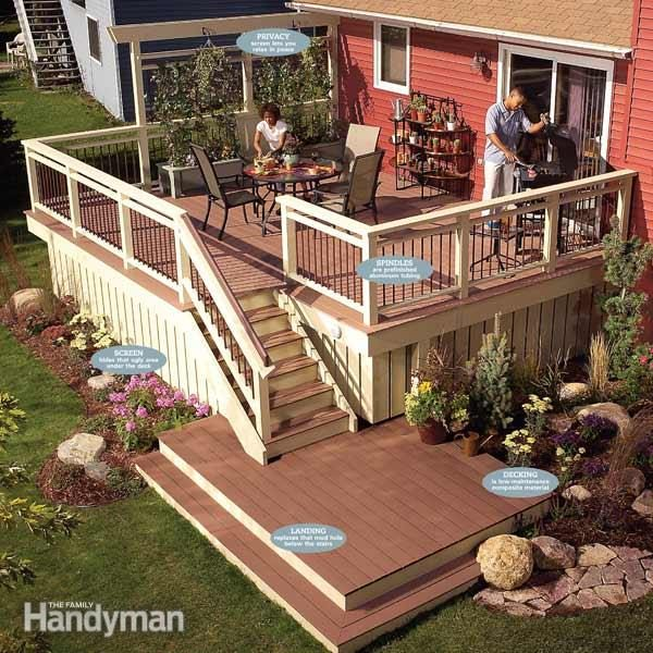 Rebuild an old deck with new decking and railings family for Modern decking materials