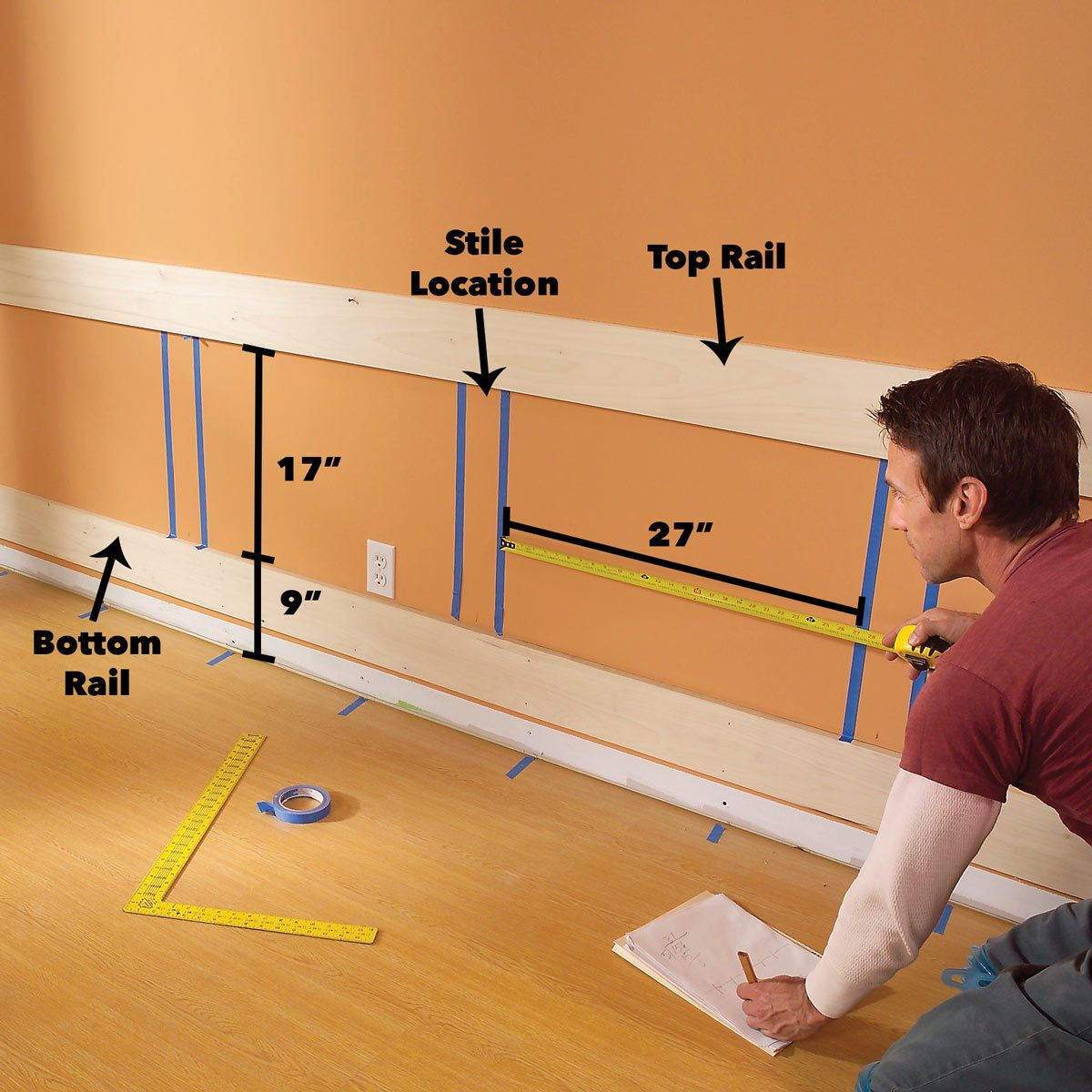 measure rail width wood wainscoting panels
