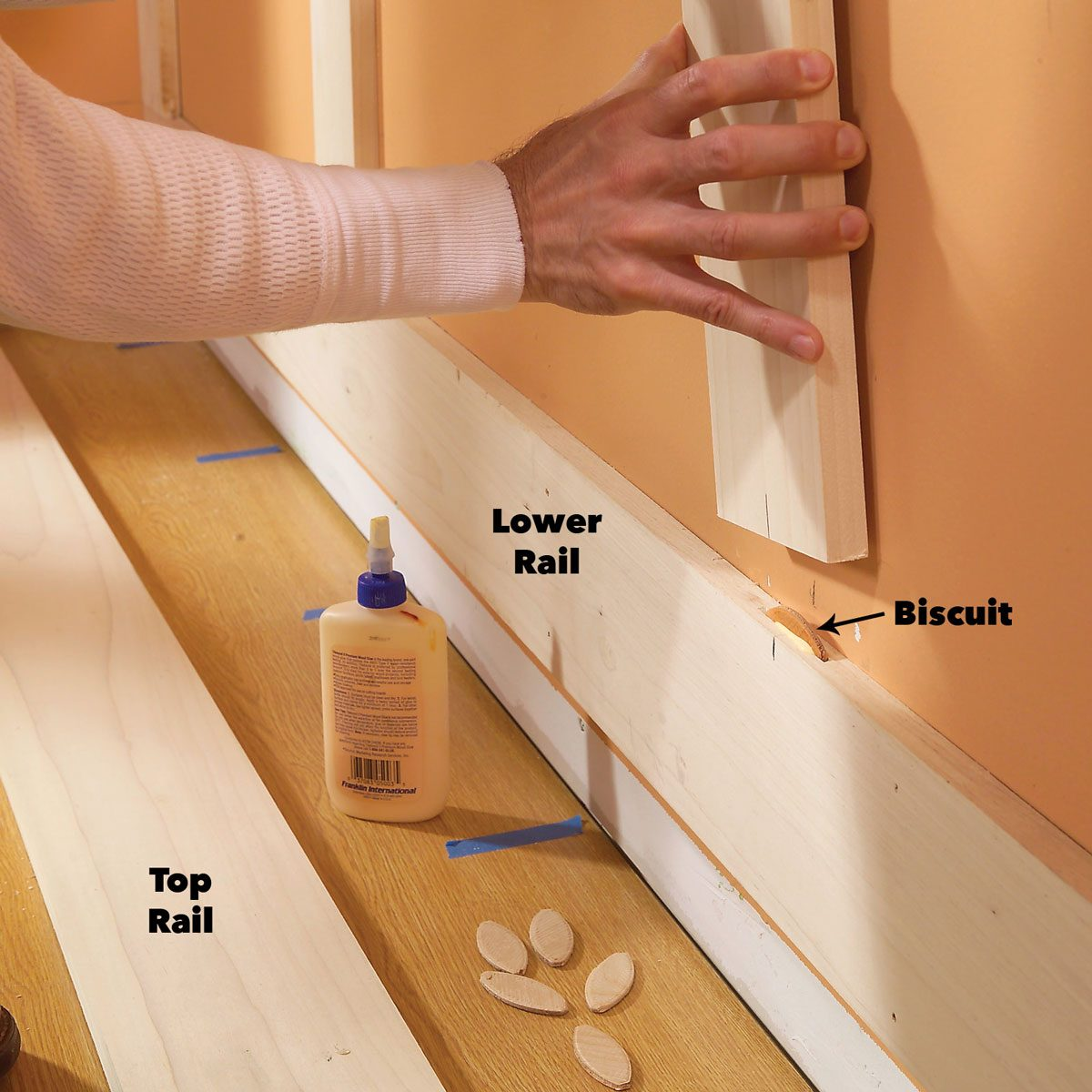 start gluing stiles for wainscoting