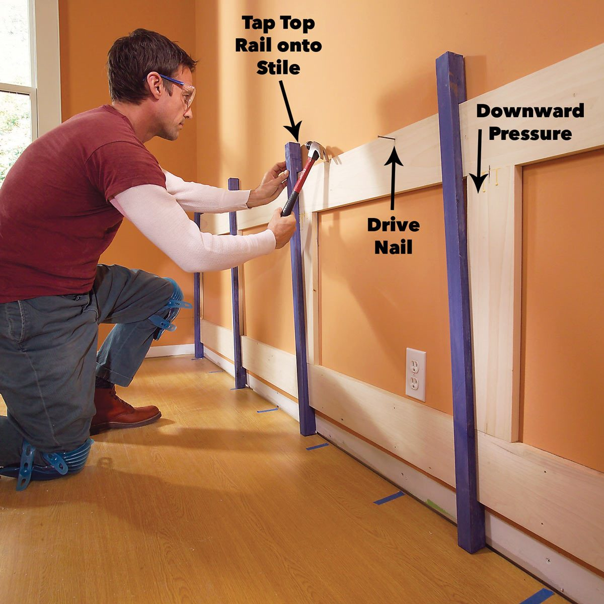 clamp rails and stiles together wood wainscoting panels