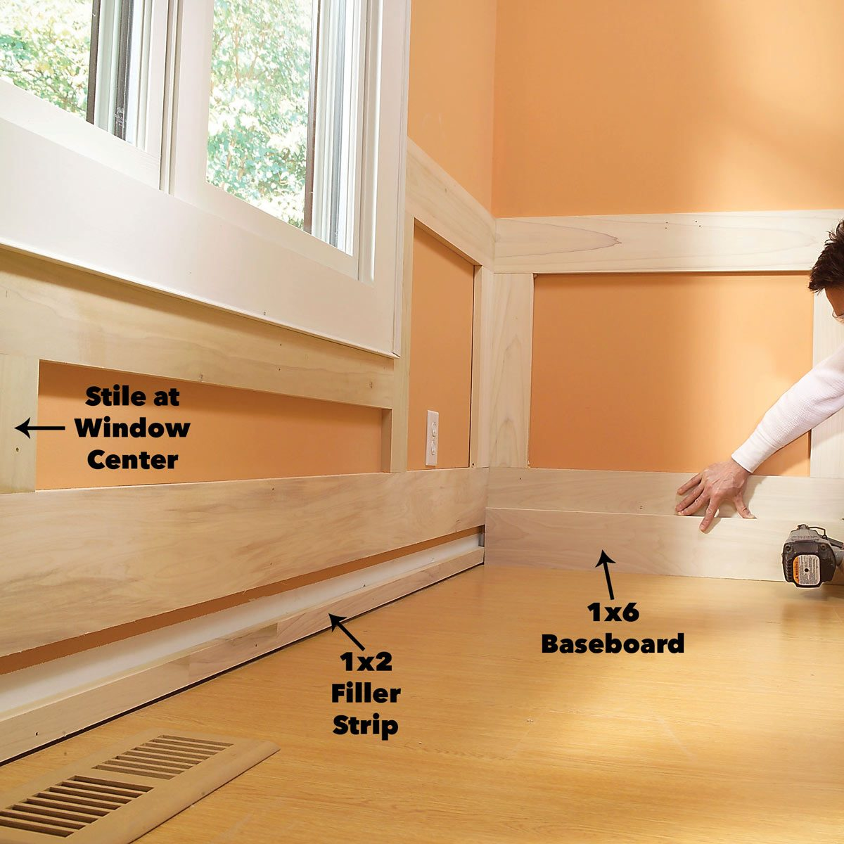 Nail the baseboard wainscoting