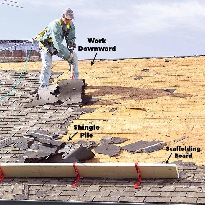 Work downward remove roof shingles