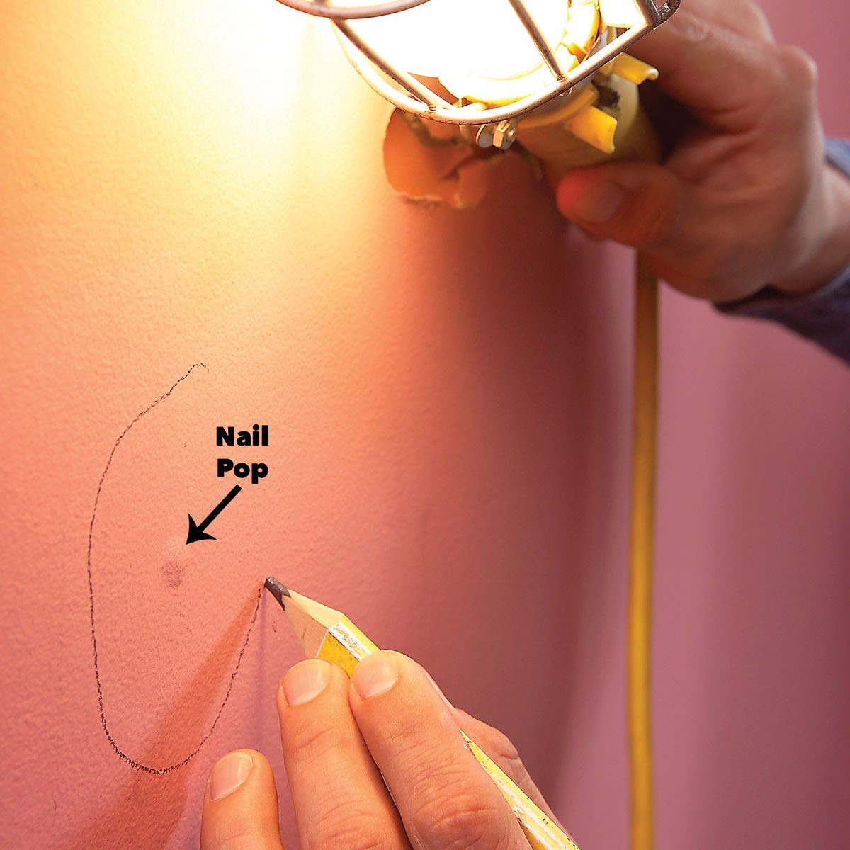 find flaws in wall with utility light nail pop how to paint new drywall