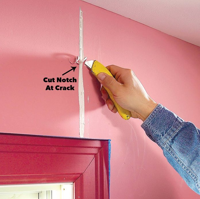 cut out joint crack drywall
