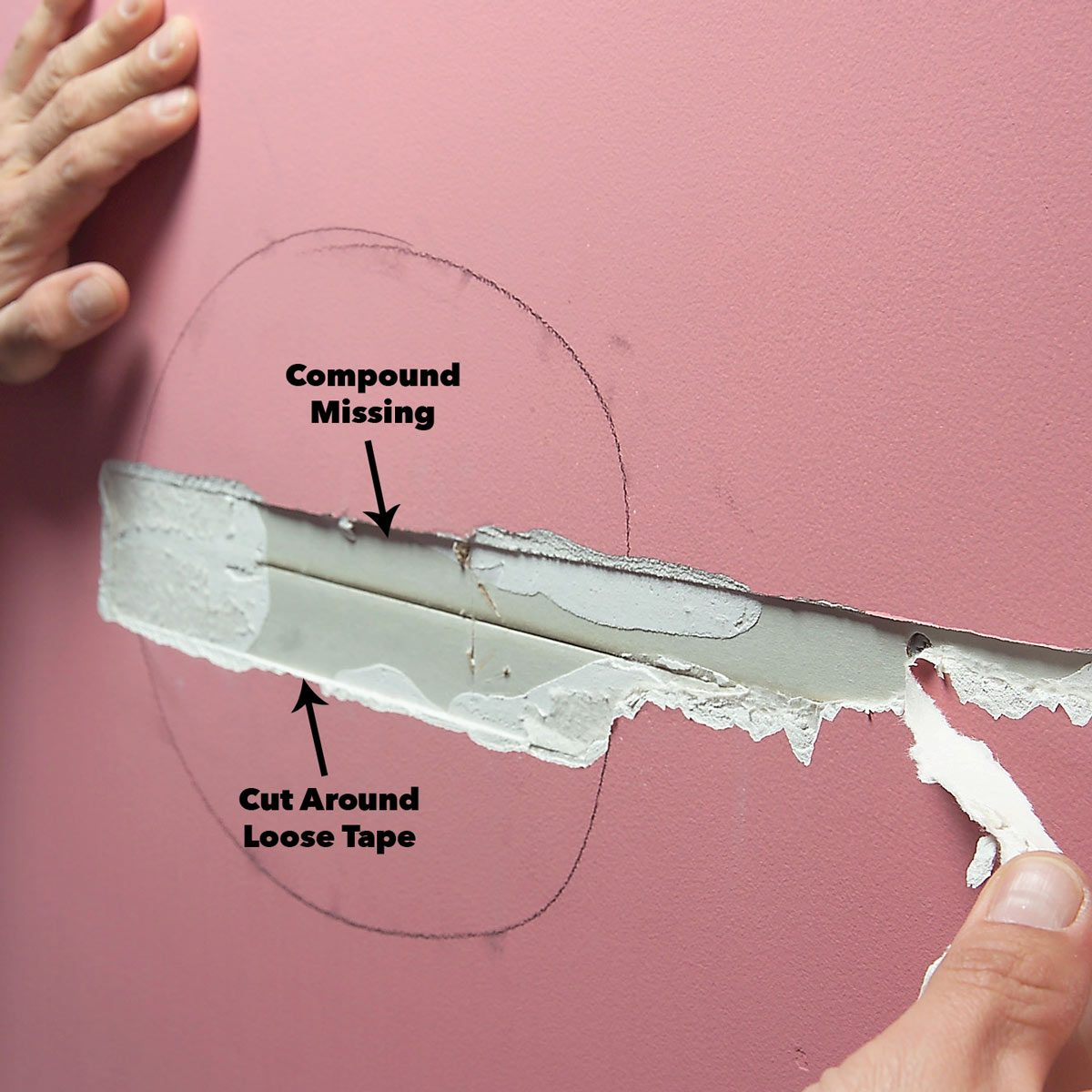 cut out loose and blistered wall tape