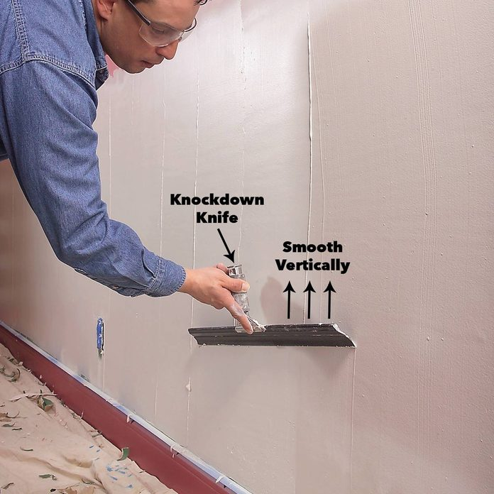 smooth compound vertically damaged drywall