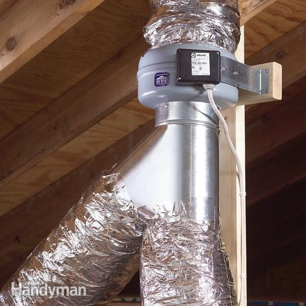 Use An InLine Fan To Vent Two Bathrooms The Family Handyman - Cost to install bathroom exhaust fan through roof
