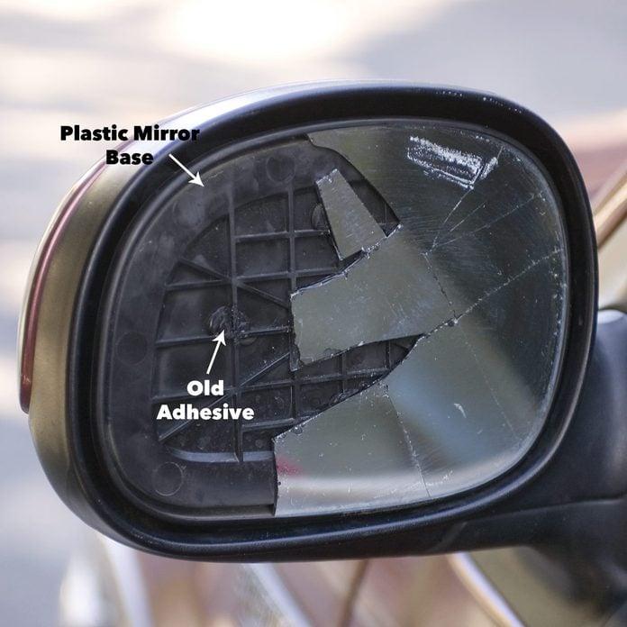 prep broken car review mirror