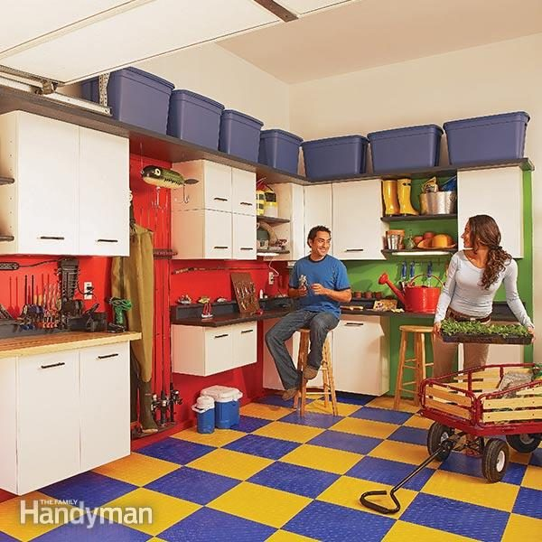 Convenient work space and storage galore in one weekend & Garage Cabinet Storage | The Family Handyman
