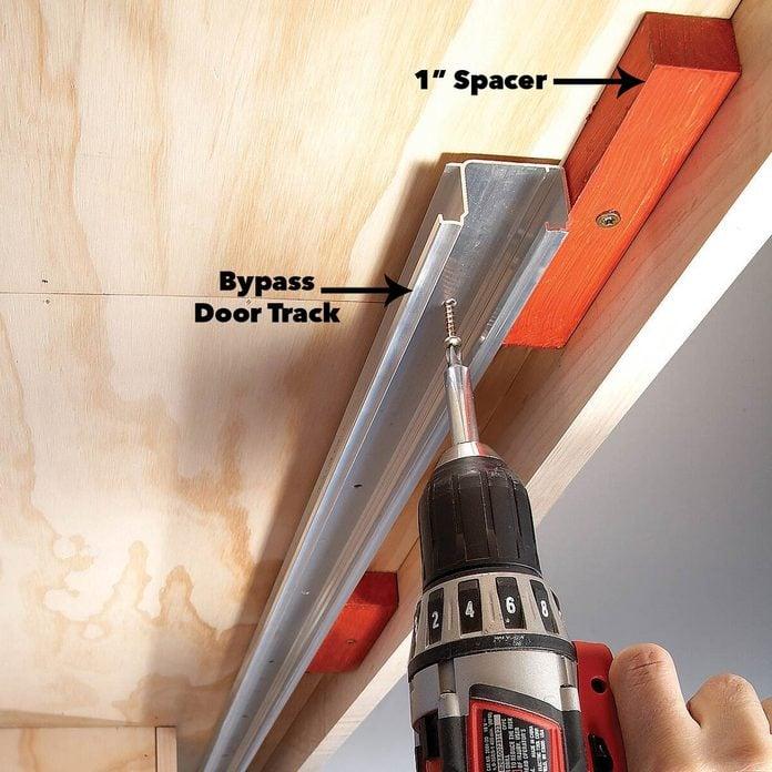 fasten tracks sliding cabinet doors diy